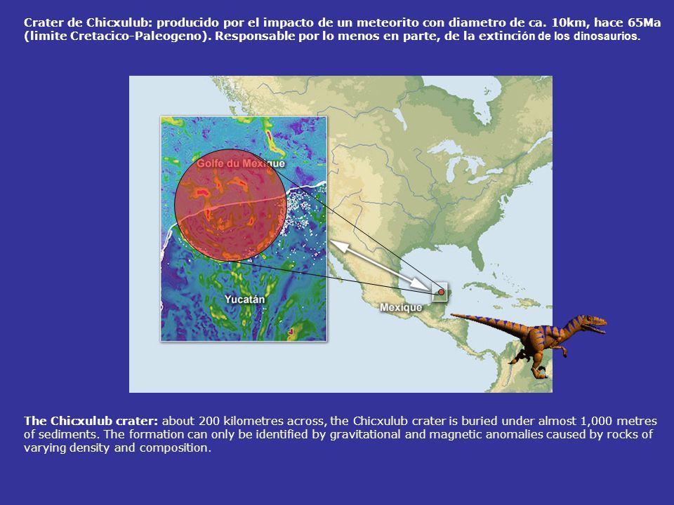 Crater de Chicxulub: producido por el impacto de un meteorito con diametro de ca. 10km, hace 65Ma (limite Cretacico-Paleogeno). Responsable por lo menos en parte, de la extinción de los dinosaurios.