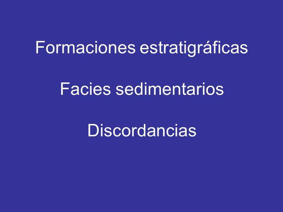 Formaciones estratigráficas Facies sedimentarios Discordancias