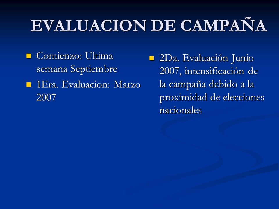 EVALUACION DE CAMPAÑA Comienzo: Ultima semana Septiembre