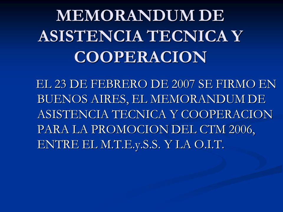 MEMORANDUM DE ASISTENCIA TECNICA Y COOPERACION