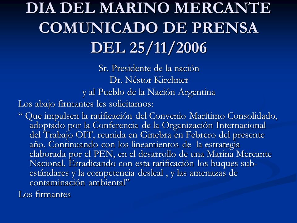 DIA DEL MARINO MERCANTE COMUNICADO DE PRENSA DEL 25/11/2006