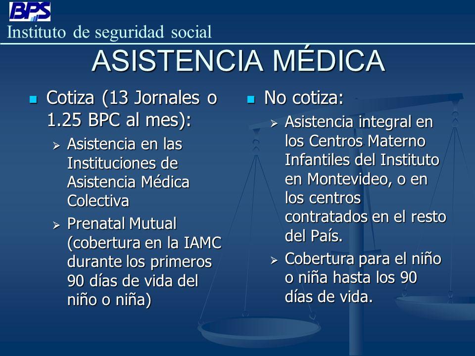 ASISTENCIA MÉDICA Cotiza (13 Jornales o 1.25 BPC al mes): No cotiza: