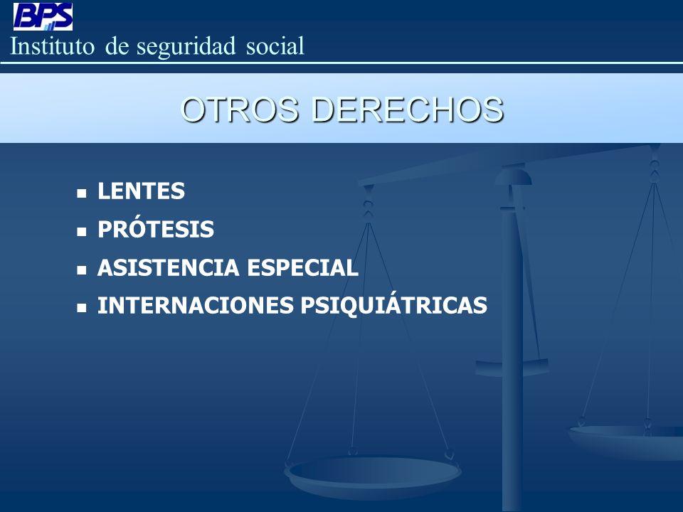 OTROS DERECHOS LENTES PRÓTESIS ASISTENCIA ESPECIAL