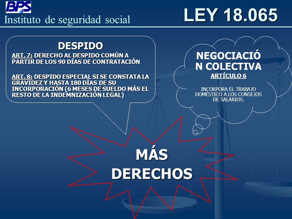 LEY 18.065 MÁS DERECHOS DESPIDO NEGOCIACIÓN COLECTIVA
