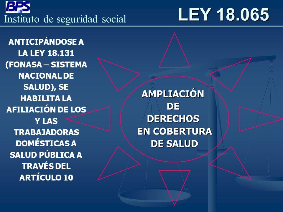 LEY 18.065 AMPLIACIÓN DE DERECHOS EN COBERTURA DE SALUD