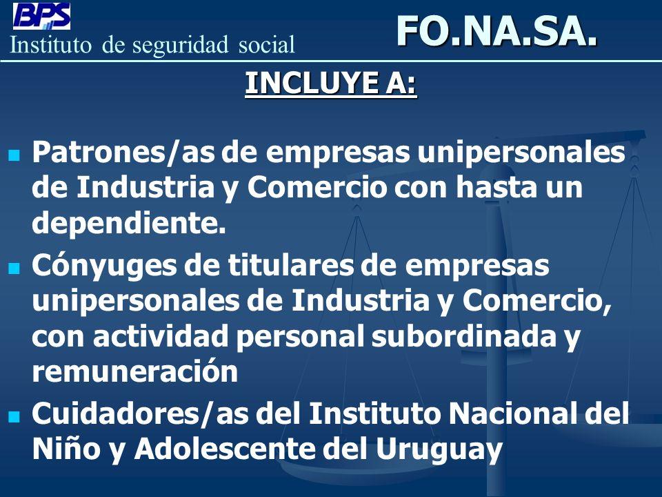 FO.NA.SA. INCLUYE A: Patrones/as de empresas unipersonales de Industria y Comercio con hasta un dependiente.
