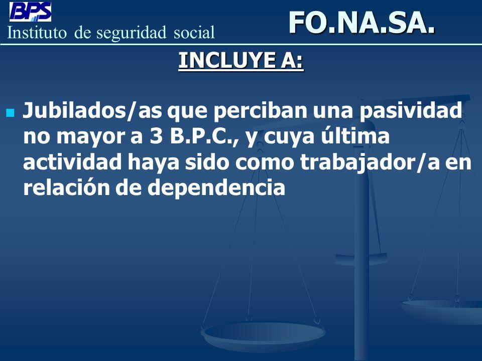 FO.NA.SA. INCLUYE A: