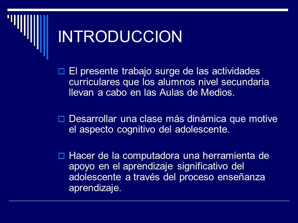 INTRODUCCION El presente trabajo surge de las actividades curriculares que los alumnos nivel secundaria llevan a cabo en las Aulas de Medios.