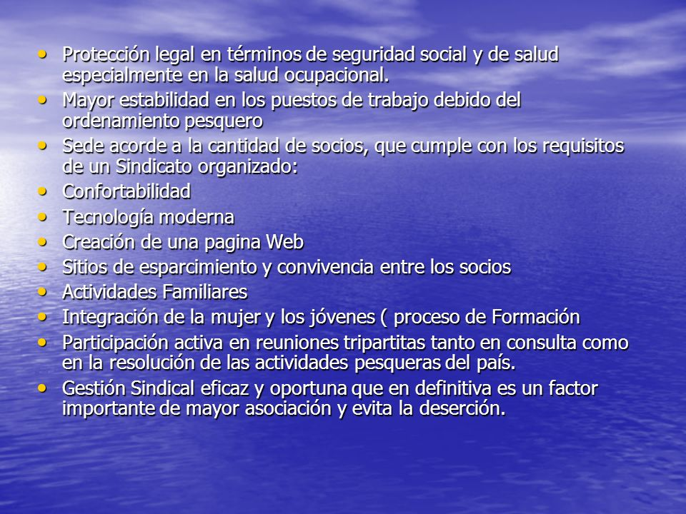 Protección legal en términos de seguridad social y de salud especialmente en la salud ocupacional.