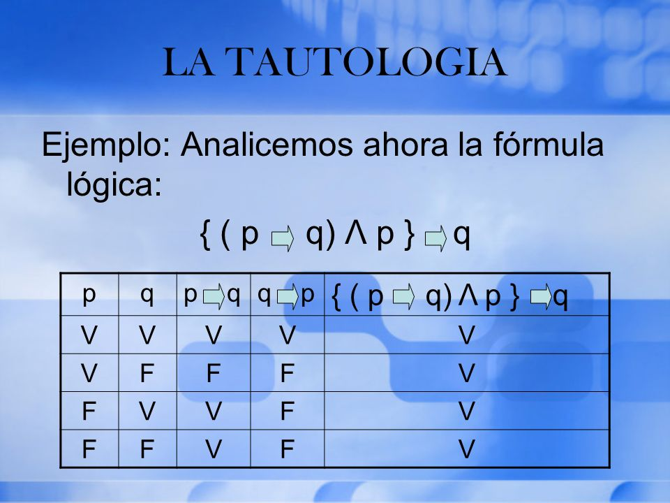 LA TAUTOLOGIA Ejemplo: Analicemos ahora la fórmula lógica: