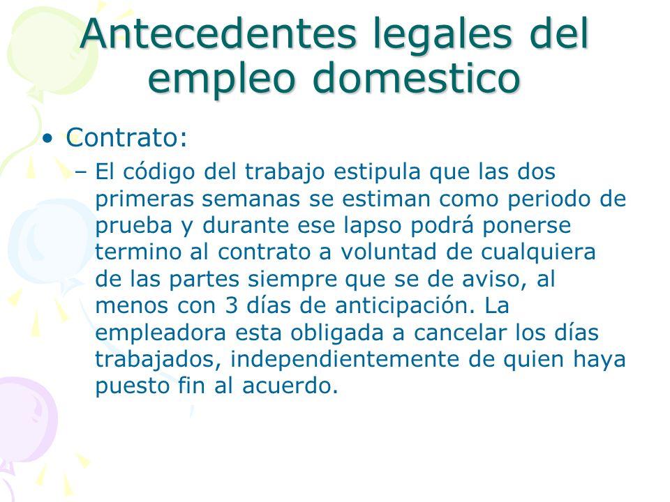 Antecedentes legales del empleo domestico
