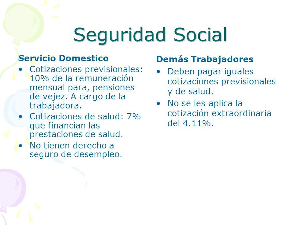 Seguridad Social Servicio Domestico