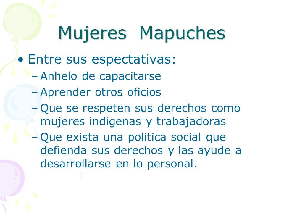 Mujeres Mapuches Entre sus espectativas: Anhelo de capacitarse