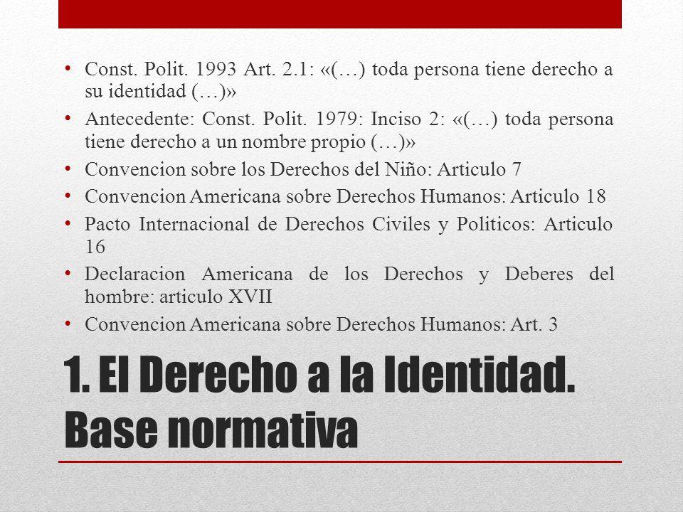 1. El Derecho a la Identidad. Base normativa