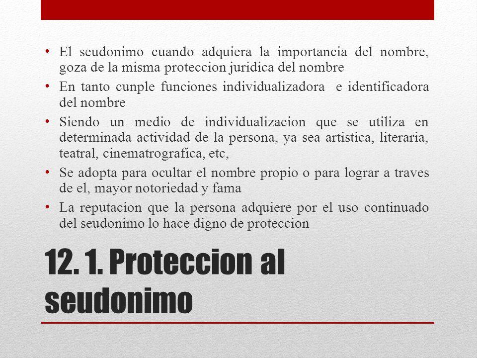 12. 1. Proteccion al seudonimo