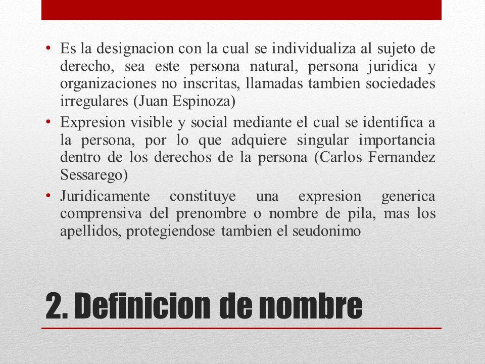 Es la designacion con la cual se individualiza al sujeto de derecho, sea este persona natural, persona juridica y organizaciones no inscritas, llamadas tambien sociedades irregulares (Juan Espinoza)