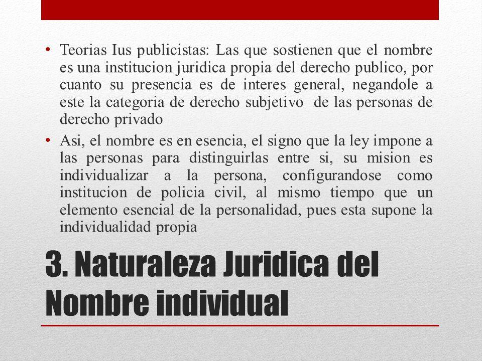 3. Naturaleza Juridica del Nombre individual
