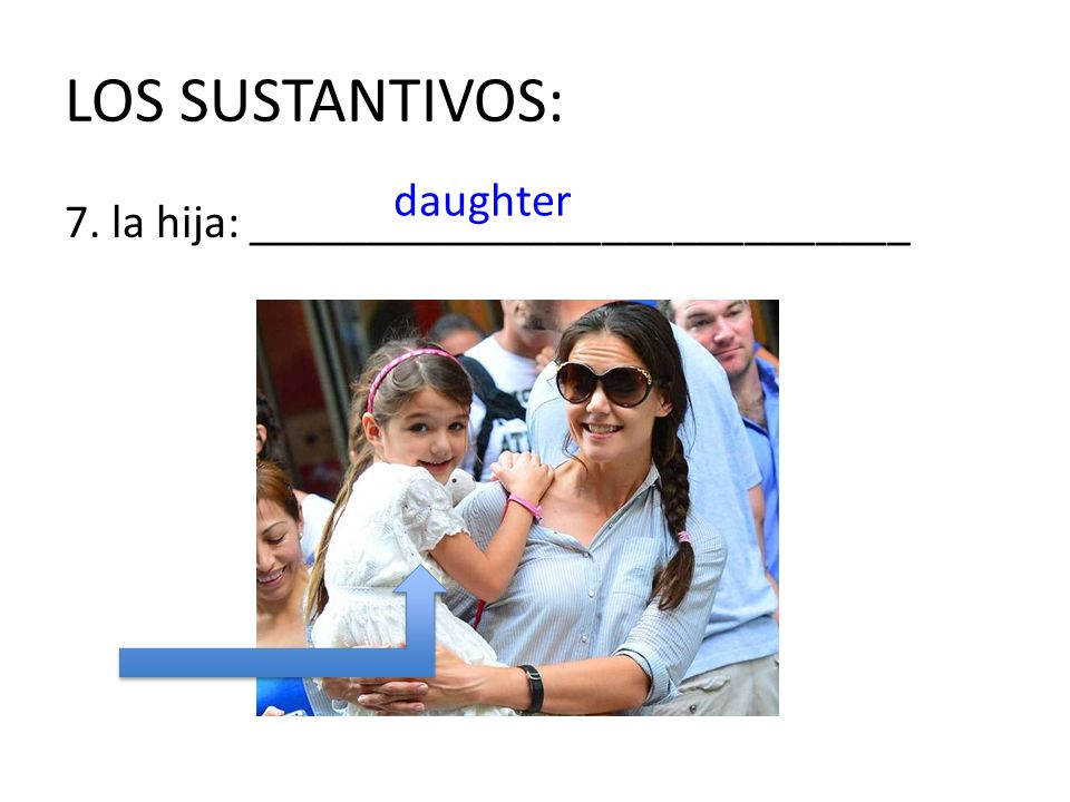 LOS SUSTANTIVOS: daughter 7. la hija: ____________________________