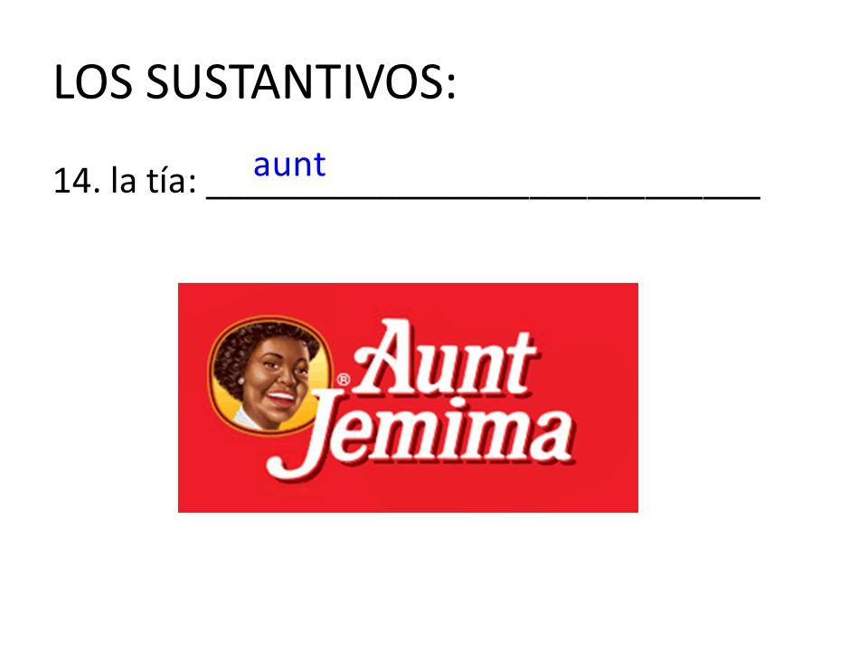 LOS SUSTANTIVOS: aunt 14. la tía: _____________________________