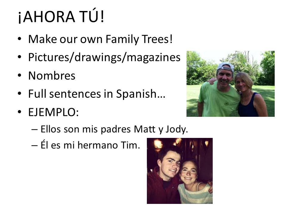 ¡AHORA TÚ! Make our own Family Trees! Pictures/drawings/magazines