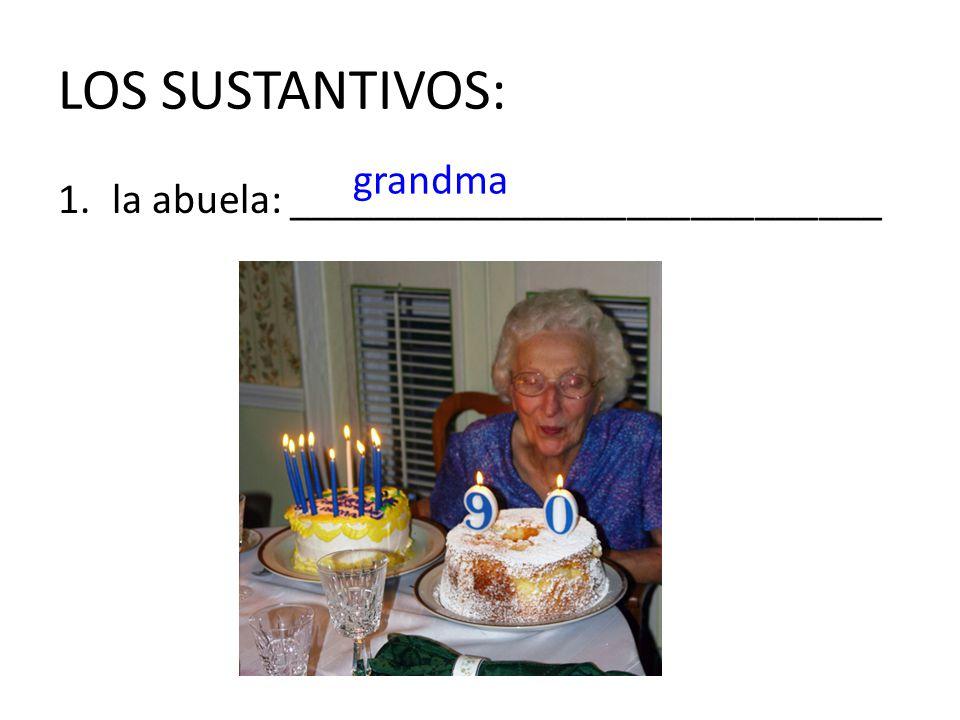 LOS SUSTANTIVOS: grandma la abuela: ____________________________