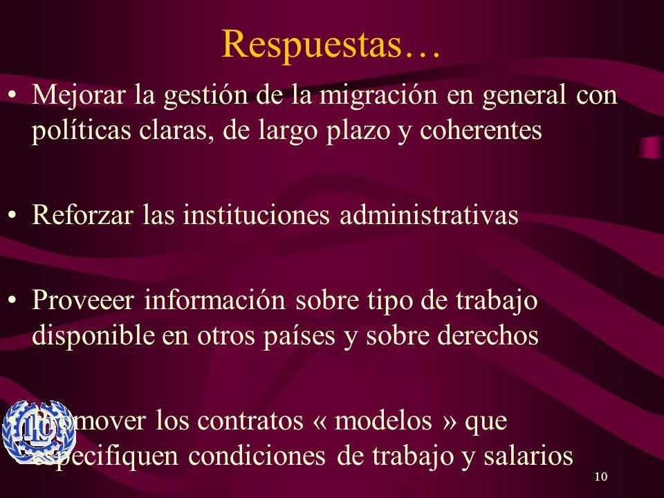 Respuestas… Mejorar la gestión de la migración en general con políticas claras, de largo plazo y coherentes.