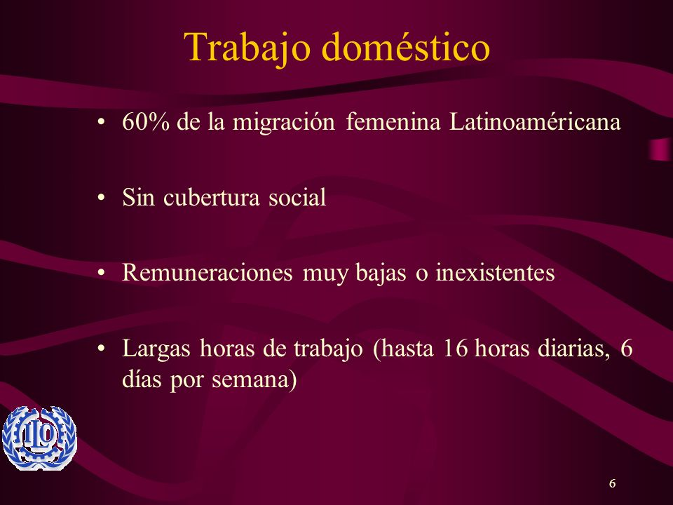 Trabajo doméstico 60% de la migración femenina Latinoaméricana