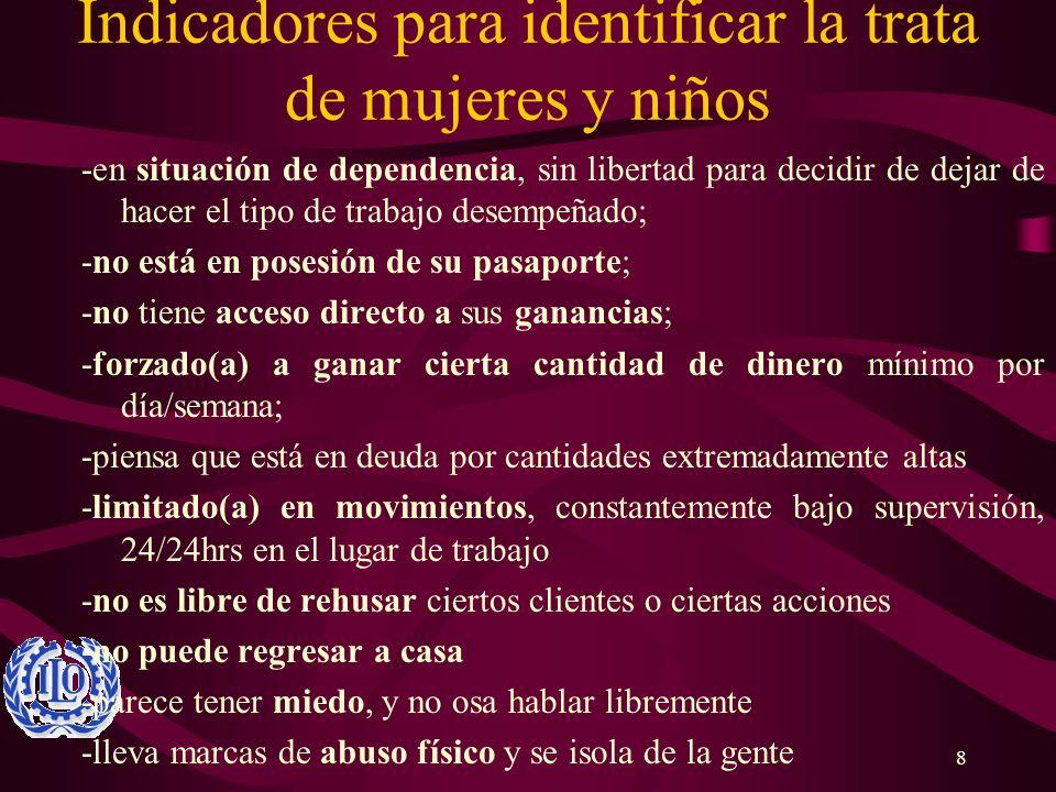 Indicadores para identificar la trata de mujeres y niños