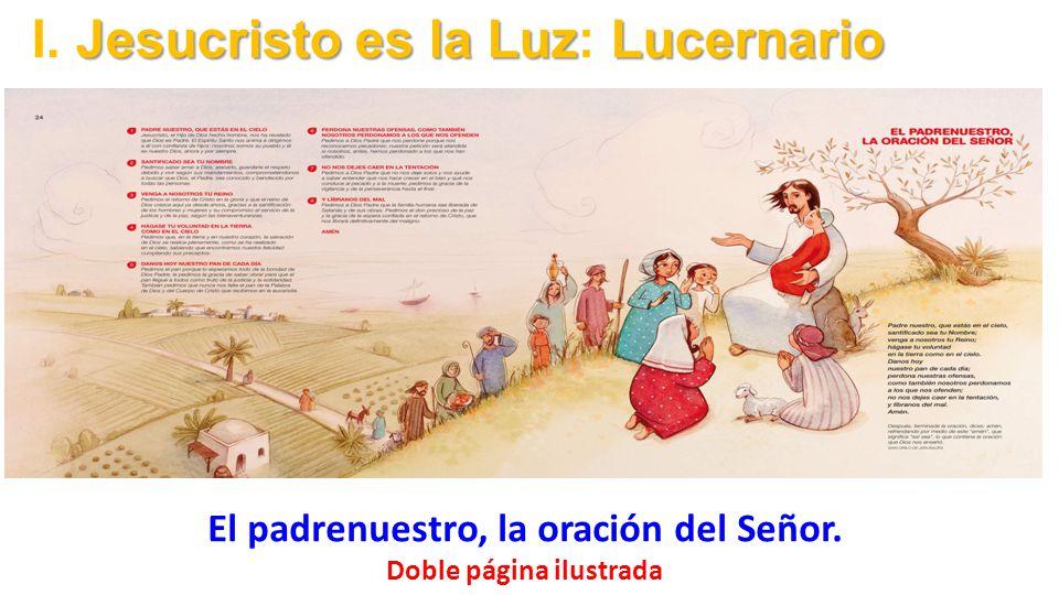 El padrenuestro, la oración del Señor. Doble página ilustrada