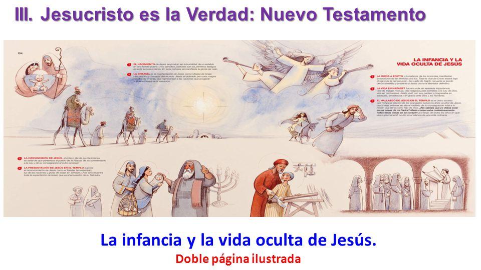 La infancia y la vida oculta de Jesús. Doble página ilustrada