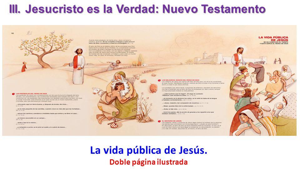 La vida pública de Jesús. Doble página ilustrada