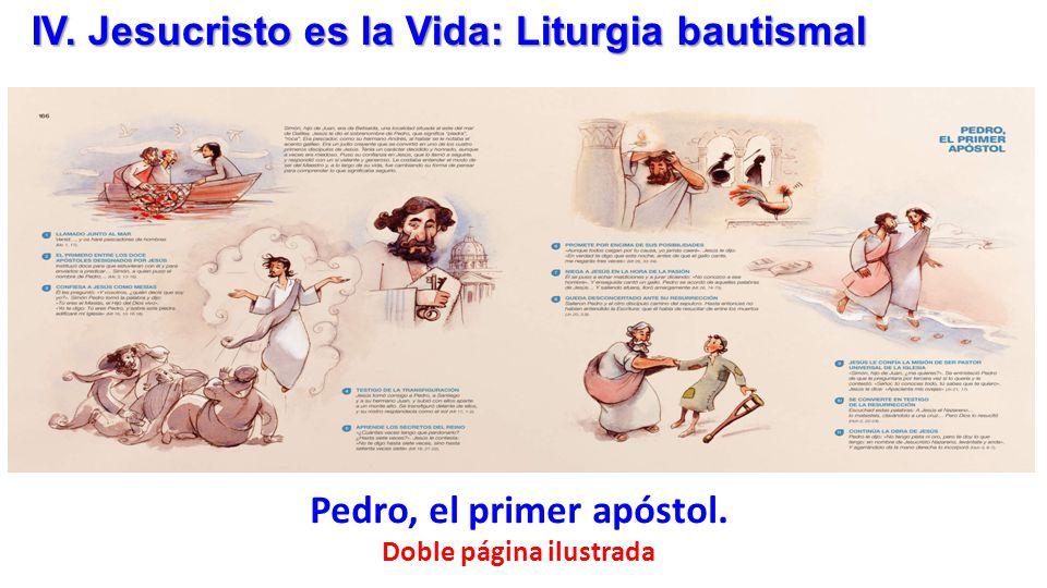 Pedro, el primer apóstol. Doble página ilustrada