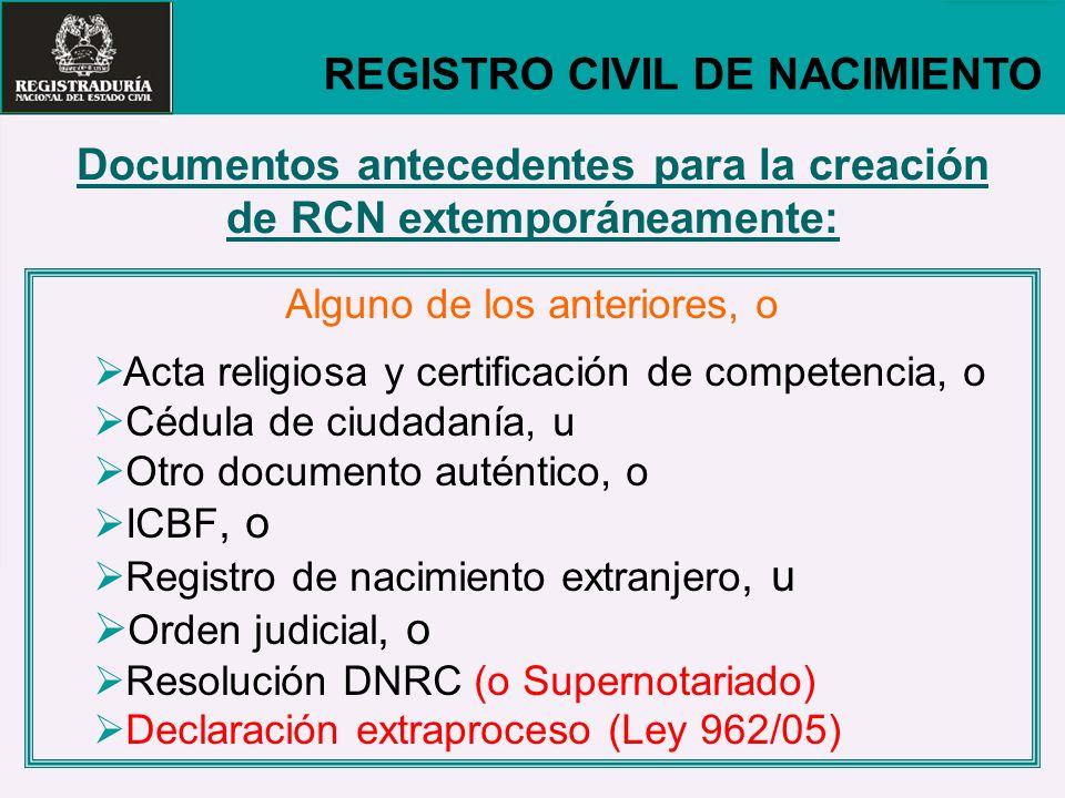 Documentos antecedentes para la creación de RCN extemporáneamente: