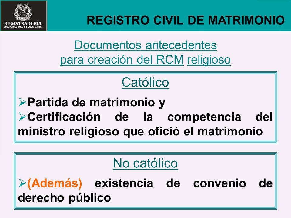 Católico No católico REGISTRO CIVIL DE MATRIMONIO