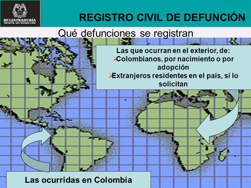 REGISTRO CIVIL DE DEFUNCIÓN Qué defunciones se registran
