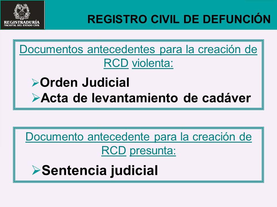 Sentencia judicial Acta de levantamiento de cadáver