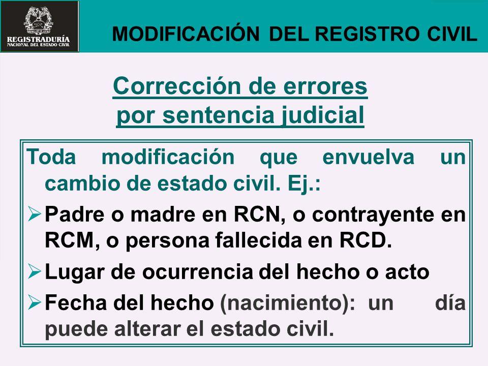 Corrección de errores por sentencia judicial