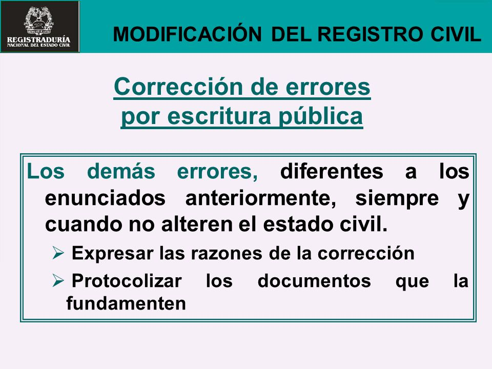 Corrección de errores por escritura pública