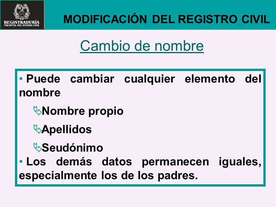 Cambio de nombre MODIFICACIÓN DEL REGISTRO CIVIL