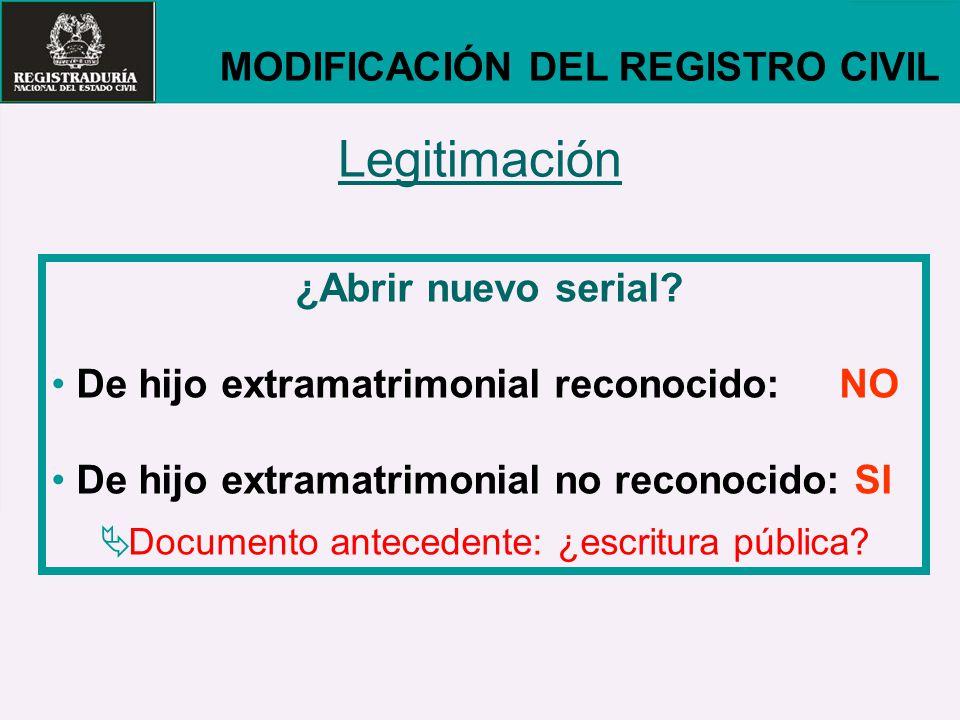 Legitimación MODIFICACIÓN DEL REGISTRO CIVIL ¿Abrir nuevo serial