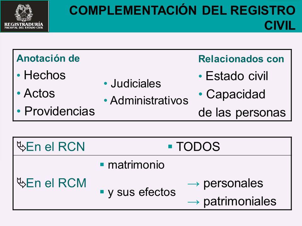 COMPLEMENTACIÓN DEL REGISTRO CIVIL