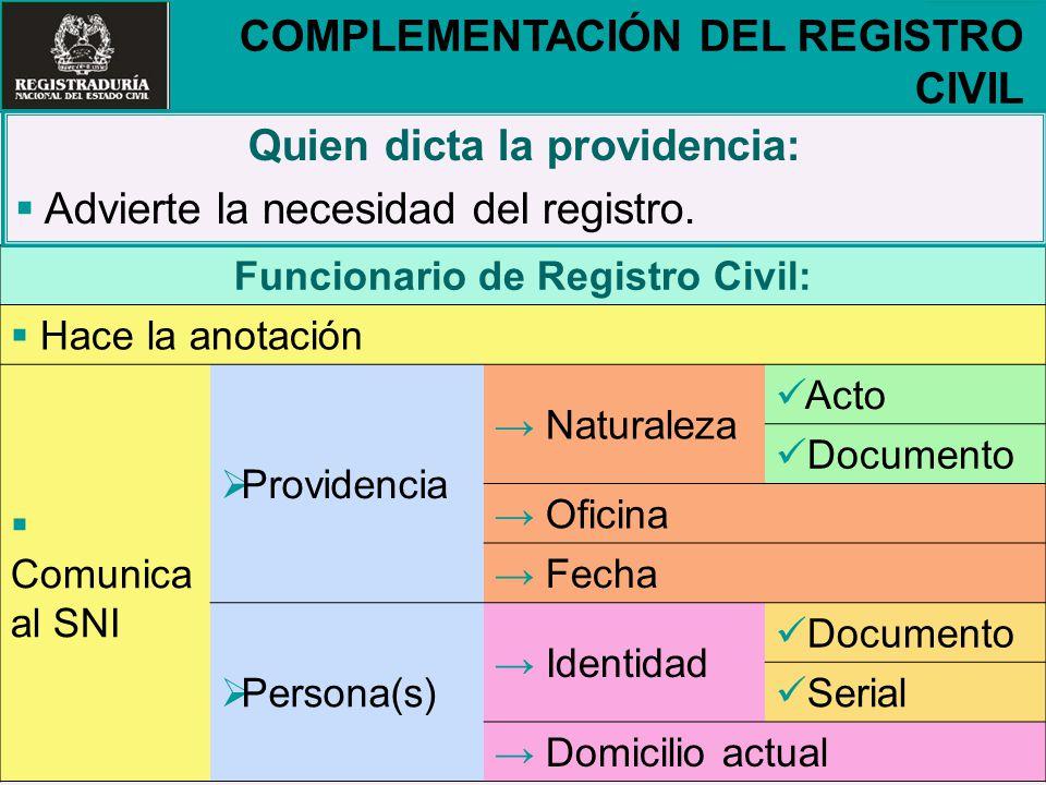 Quien dicta la providencia: Funcionario de Registro Civil: