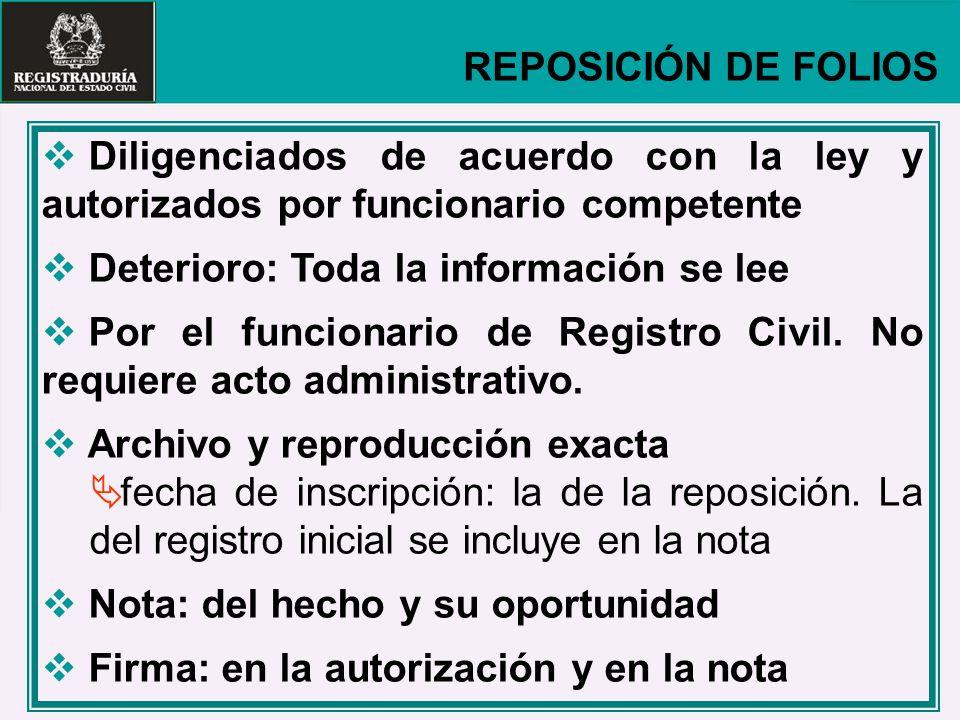 REPOSICIÓN DE FOLIOS Diligenciados de acuerdo con la ley y autorizados por funcionario competente. Deterioro: Toda la información se lee.