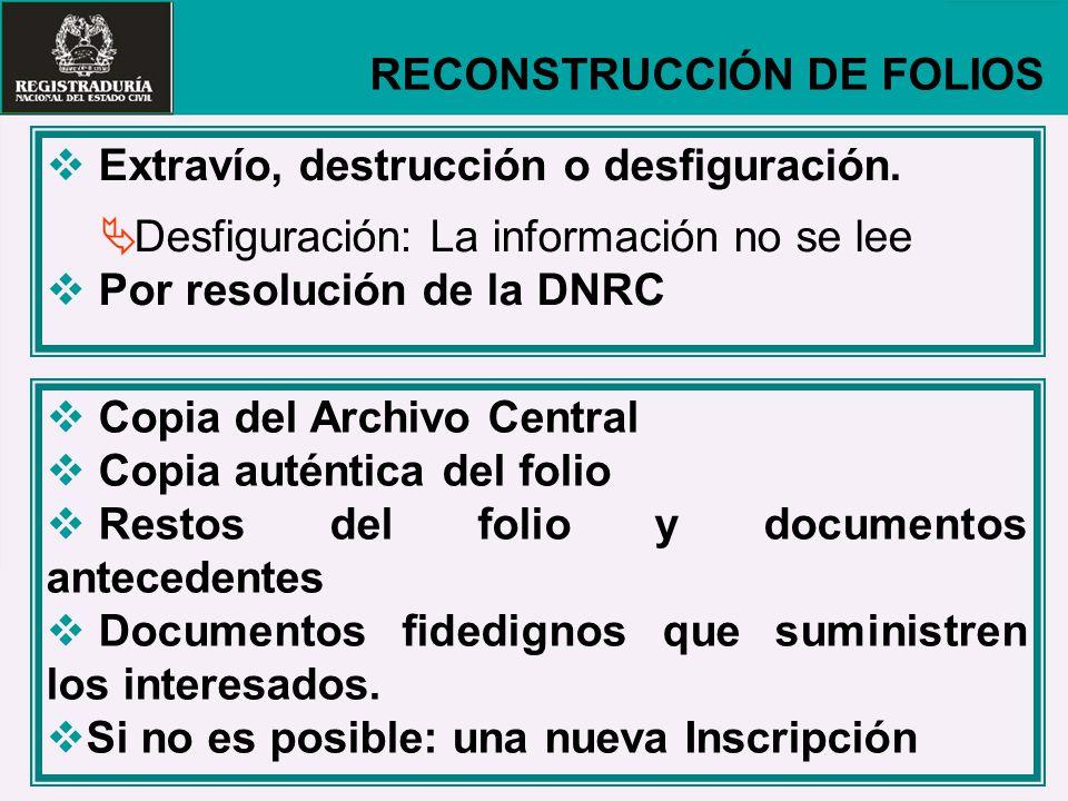RECONSTRUCCIÓN DE FOLIOS