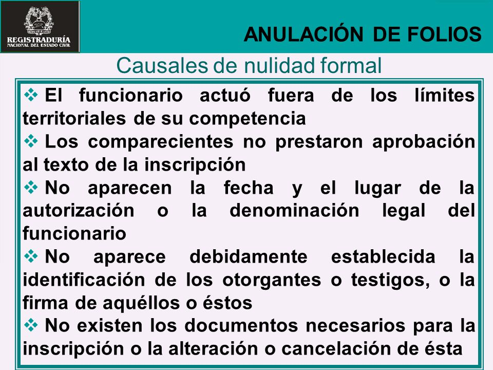 Causales de nulidad formal
