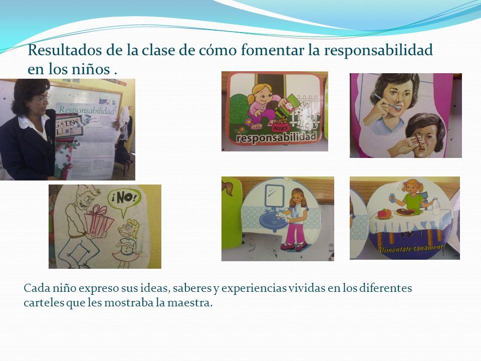 Resultados de la clase de cómo fomentar la responsabilidad en los niños .