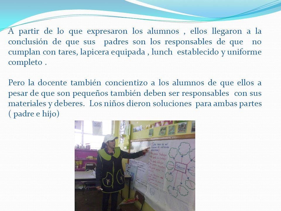 A partir de lo que expresaron los alumnos , ellos llegaron a la conclusión de que sus padres son los responsables de que no cumplan con tares, lapicera equipada , lunch establecido y uniforme completo .