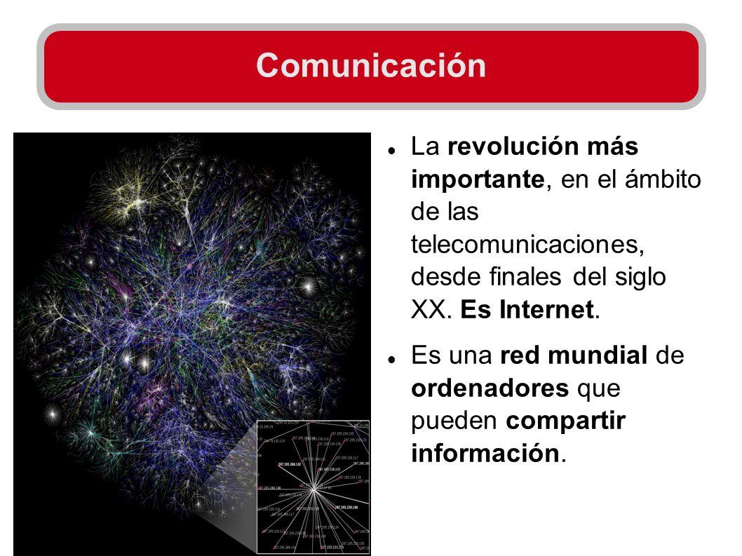 Comunicación La revolución más importante, en el ámbito de las telecomunicaciones, desde finales del siglo XX. Es Internet.