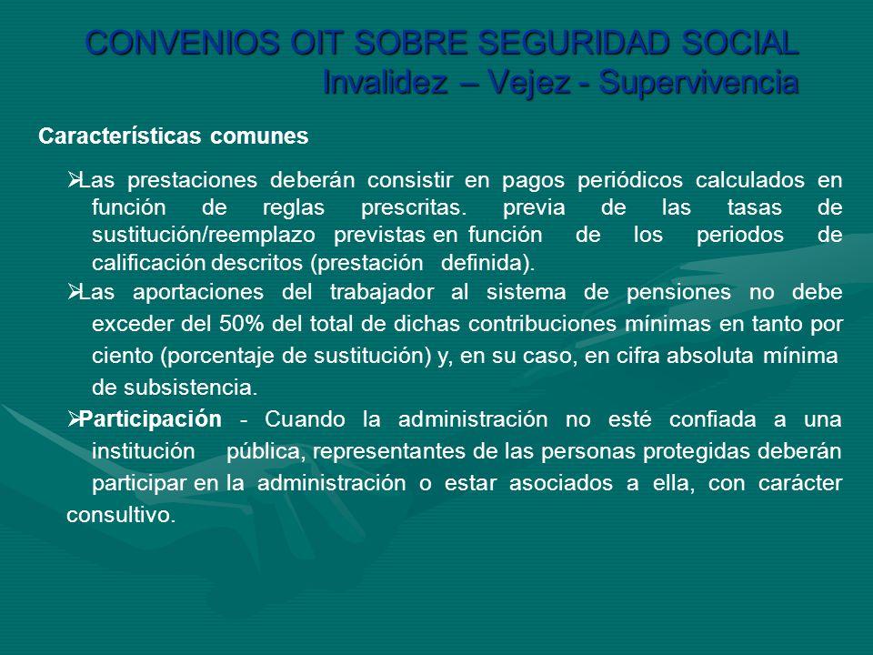 CONVENIOS OIT SOBRE SEGURIDAD SOCIAL Invalidez – Vejez - Supervivencia