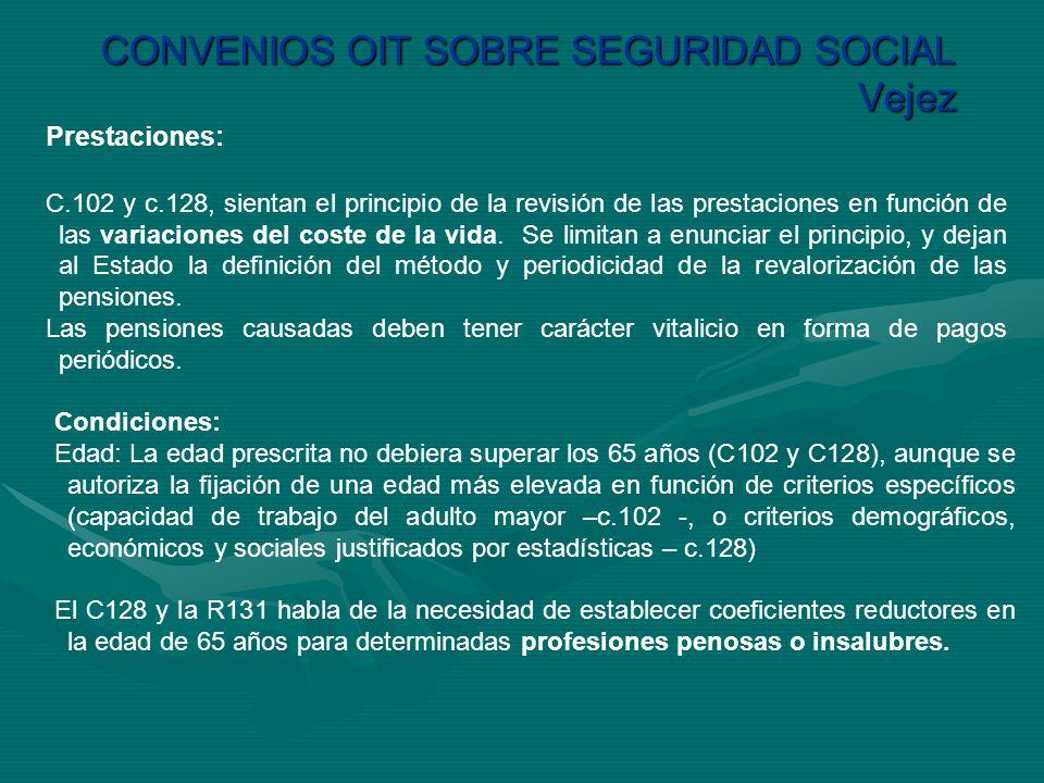 CONVENIOS OIT SOBRE SEGURIDAD SOCIAL Vejez